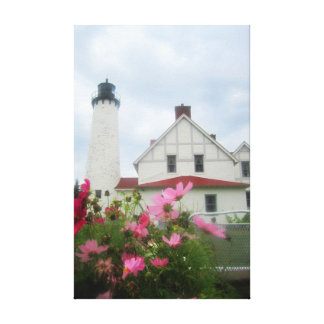Michigan Lighthouse & Flowers Canvas Art