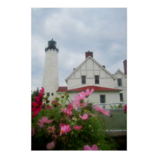 Michigan Lighthouse & Flowers Poster Art