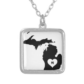 Michigan Love Silver Plated Necklace