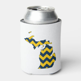 Michigan Maize and Blue Chevron Pattern Can Cooler