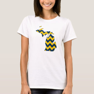 Michigan Maize and Blue Chevron Pattern T-Shirt