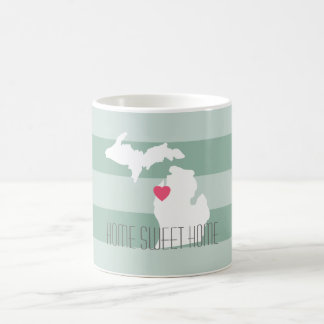 Michigan Map Home State Love with Custom Heart Classic White Coffee Mug