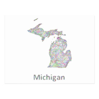 Michigan map postcard