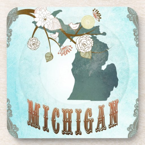 Michigan Map With Lovely Birds Beverage Coaster