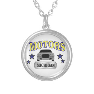 Michigan motors silver plated necklace