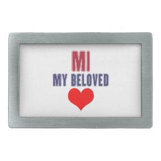 Michigan  my beloved rectangular belt buckle