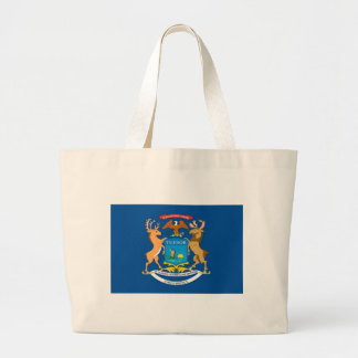Michigan  Official State Flag Jumbo Tote Bag
