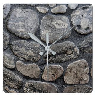 Michigan petoskey stone background square wall clock