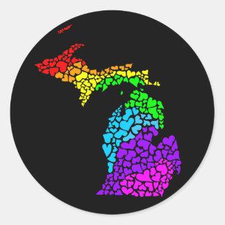 michigan pride : rainbow hearts classic round sticker