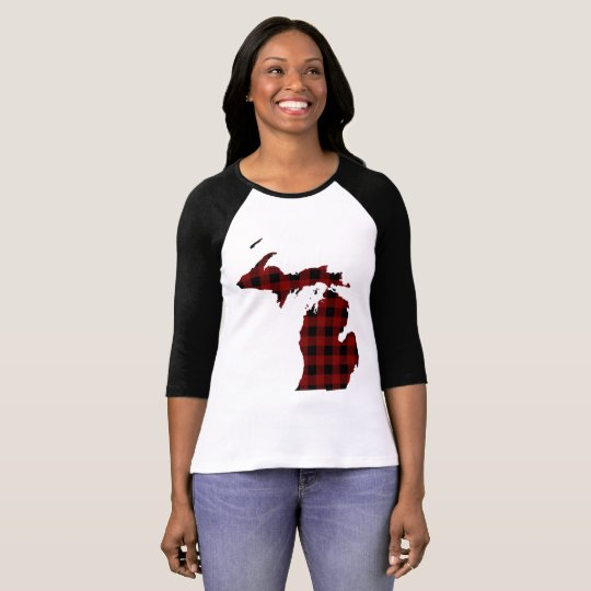 Michigan | Red and Black Buffalo Plaid T-Shirt