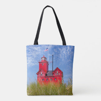 Michigan red lighthouse tote bag