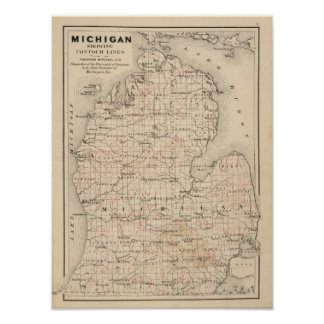 Michigan showing contour lines poster