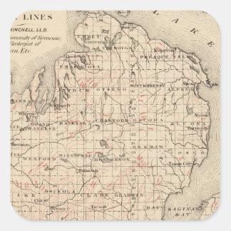 Michigan showing contour lines square sticker