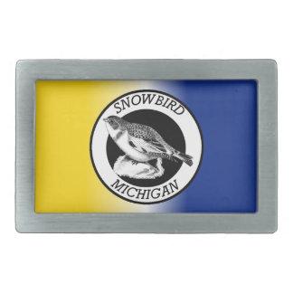 MIchigan Snowbird Shield Rectangular Belt Buckles