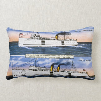 Michigan State Auto Ferries Antique Postcard Lumbar Pillow