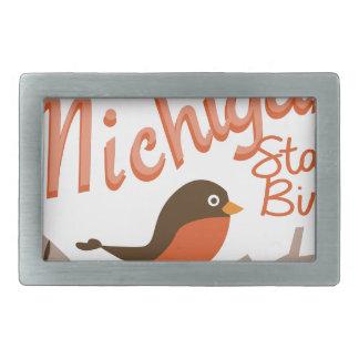 Michigan State Bird Rectangular Belt Buckles