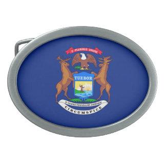 Michigan State Flag Design Oval Belt Buckles