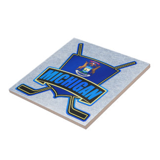 Michigan State Flag Hockey Logo Tiles