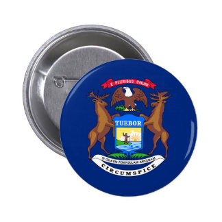 Michigan state flag usa united america symbol 2 inch round button