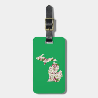 Michigan State Flower Collage Map Luggage Tag