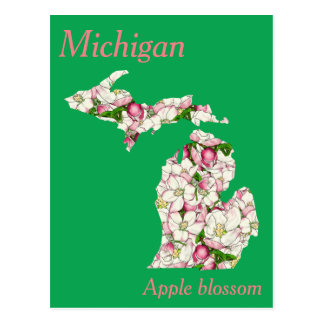 Michigan State Flower Collage Map Postcard