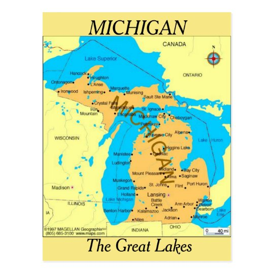 Michigan State  Map Postcard