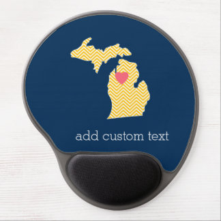 Michigan State Map with Custom Love Heart and Name Gel Mousepad