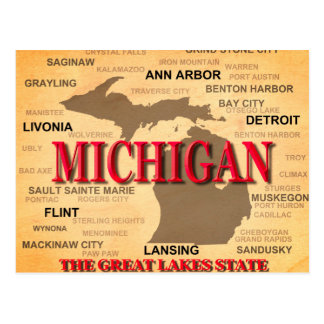 Michigan State Pride Map Silhouette Postcard