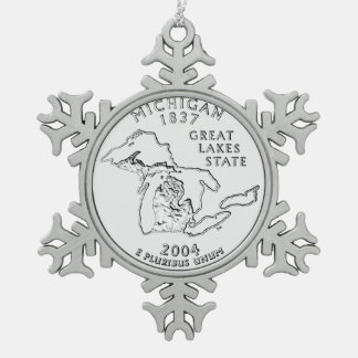 Michigan State Quarter Snowflake Pewter Christmas Ornament