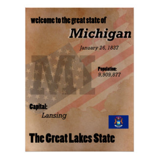 Michigan The Great Lakes State Classic Poster