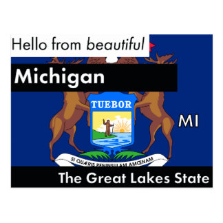 Michigan The Great Lakes State Postcard