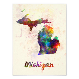 Michigan U.S. state in watercolor Photograph
