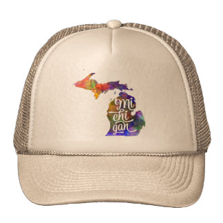 Michigan U.S. State in watercolor text cut out Trucker Hat