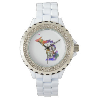 Michigan U.S. State in watercolor text cut out Watch