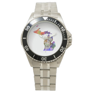 Michigan U.S. State in watercolor text cut out Wristwatch