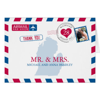 Michigan USA Airmail Wedding Thank You Card