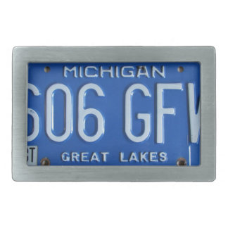 Michigan Vintage License Plate Great Lakes Buckle Rectangular Belt Buckle