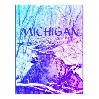 MICHIGAN Winter River Rainbow Postcard