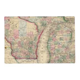 Michigan, Wisconsin Map by Mitchell Laminated Place Mat