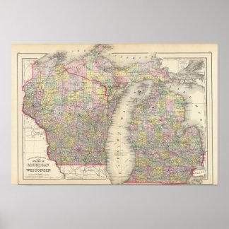 Michigan, Wisconsin Poster