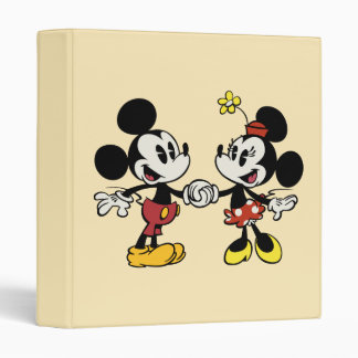 Mickey and Minnie Holding Hands 3 Ring Binders