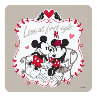 "Mickey and Minnie - Love at First Sight 5.25"" Square Invitation Card"