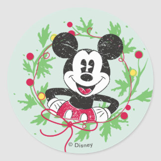 Mickey and Minnie | Vintage Christmas Pattern Classic Round Sticker