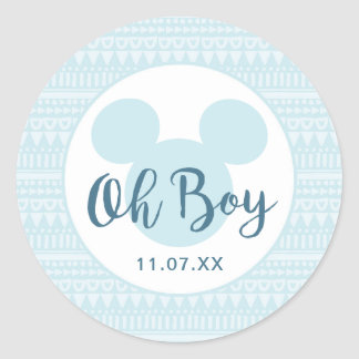 Mickey | Blue Aztec Baby Shower Classic Round Sticker
