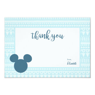 Mickey | Blue Aztec Baby Shower - Thank You Card