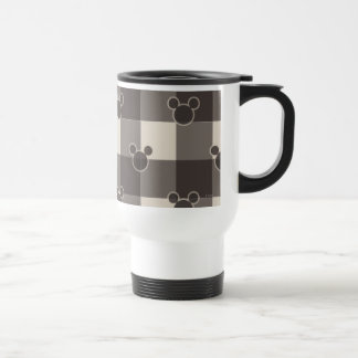 Mickey Brown Plaid Pattern Stainless Steel Travel Mug