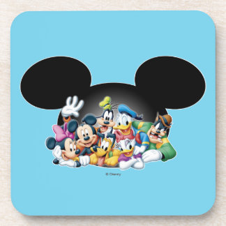 Mickey & Friends | Group in Mickey Ears Drink Coaster