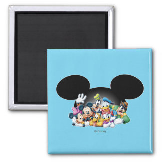 Mickey & Friends   Group in Mickey Ears Square Magnet