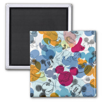 Mickey & Friends | Mouse Head Sketch Pattern Square Magnet