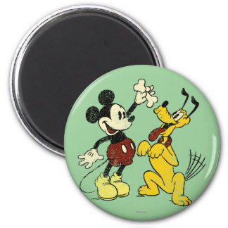 Mickey & Friends | Vintage Mickey & Pluto 2 Inch Round Magnet